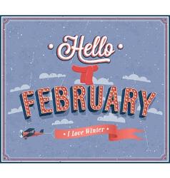 Hello february typographic design vector image vector image