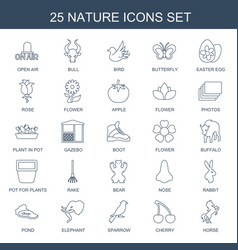 25 nature icons vector