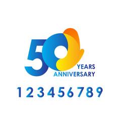 50 years anniversary celebration blue yellow vector