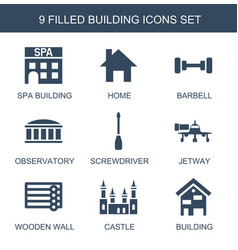 9 building icons vector image