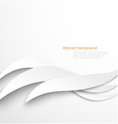 Abstract white waves background with drop shadow vector image
