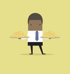 african businessman serve money coin on the plate vector image