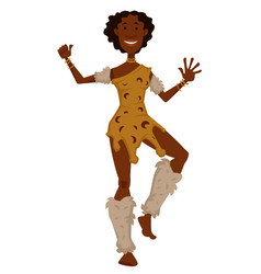 African tribe woman in animal skin and fur dancing vector
