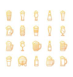 beer mug simple color line icons set vector image