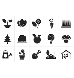 Black Different Plants and gardening Icons vector