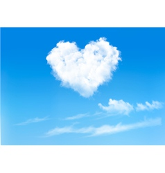 Blue sky with hearts shape clouds Valentines vector