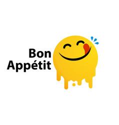 Bon appetit yummy face happy smile cartoon vector