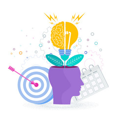 brain is like a tree growing in a human head vector image