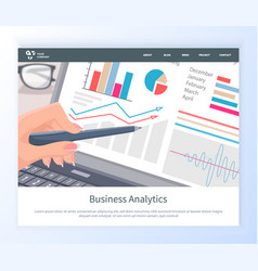Business analytics web chart in laptop vector