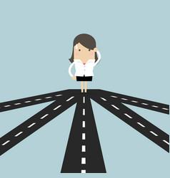 businesswoman on crossroad choosing direction vector image