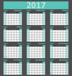 Calendar 2017 week starts on Sunday green tone vector image