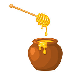 Cartoon clay pot honey with wooden dipper on vector