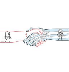 Cartoon man and skeleton walking inside a big vector