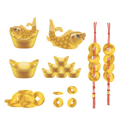 Chinese golden ingot and coin vector