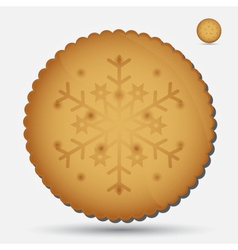Christmas brown biscuit with snowflake symbol vector