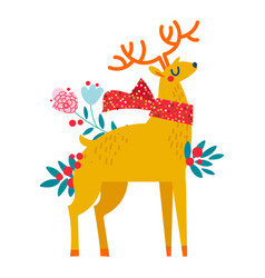 christmas reindeer in flowers vector image