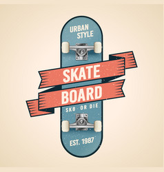 classic skateboarding logo in old school style vector image