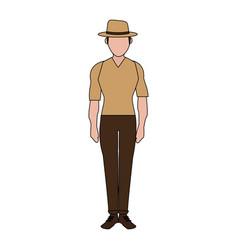 Color image silhouette full body faceless explorer vector