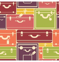 Colorful luggage seamless pattern background vector