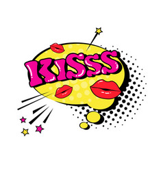 Comic speech chat bubble pop art style kiss vector