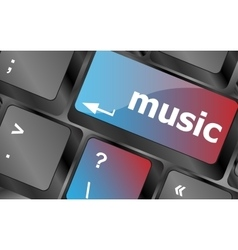 Computer keyboard with music key - technology vector