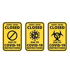 Covid19-19 closed sign set vector