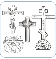 Cross and crucifix vector