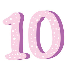 cute pink number ten on white background vector image