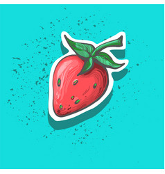cute strawberry with seeds hand drawn sticker vector image