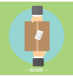 Delivery box and two hands Delivery service 24 vector image vector image