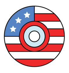 disc with usa flag pattern united state vector image
