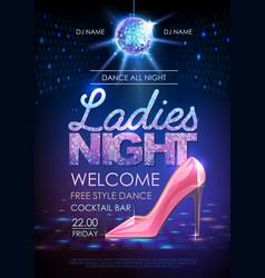 Disco party poster ladies night vector