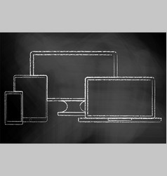 electronics chalk board digital set tv vector image