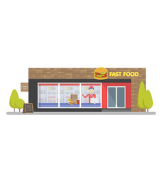 facade fast food store restaurant template vector image