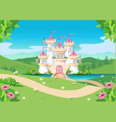 Fairytale background with princess castle vector