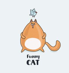 fat cat listening a blue bird vector image