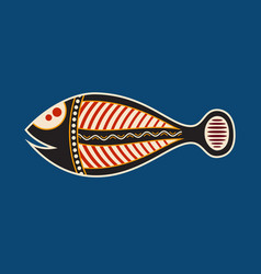 Fish aboriginal art style vector
