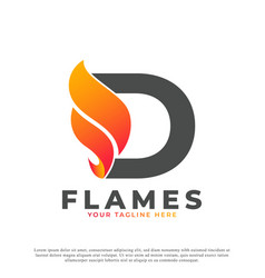 Flame with letter d logo design fire logo template vector