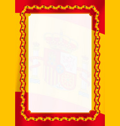 Frame and border of ribbon with spain flag vector