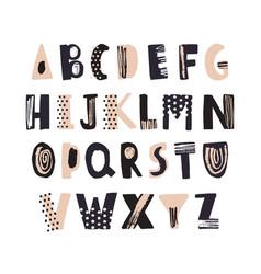 Funky latin font or decorative english alphabet vector
