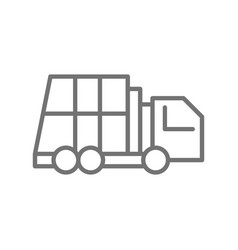 garbage truck vehicle for waste line icon vector image