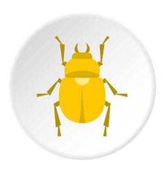 gold scarab beetle icon circle vector image