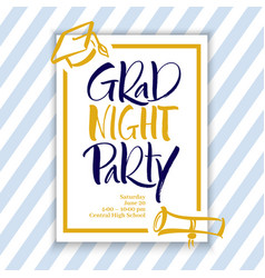 Grad night party hand lettering vector