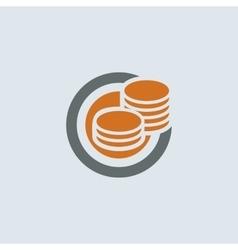 Gray-orange Coins Round Icon vector