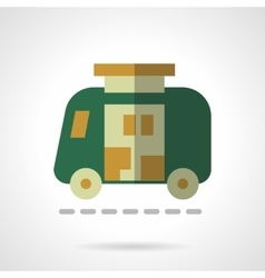 Green camper flat color design icon vector