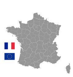 grey political map france vector image