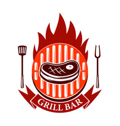 Grill bar emblem template with roasted meat and vector