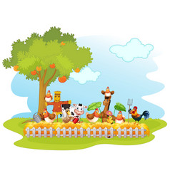 Group domestic animals in a farm isolated vector