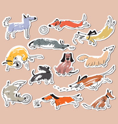 hand drawn doodle cute dogs stickers set with vector image
