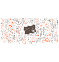 Hand drawn kitchen icons collection vector